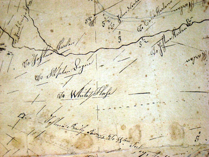 Hand drawn map by John Harlan, from 1795