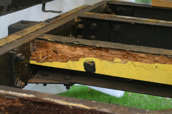 Rotten supporting structures are replaced or filled in