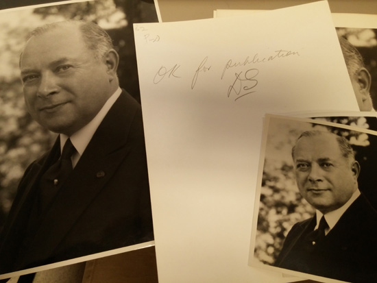 "Sarnoff headshots. On the back he has written ""OK for publication. DS"""