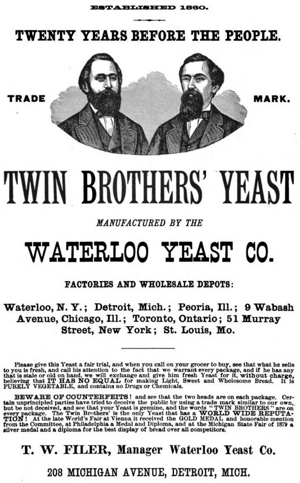 Ad for the brothers' business featuring their portraits