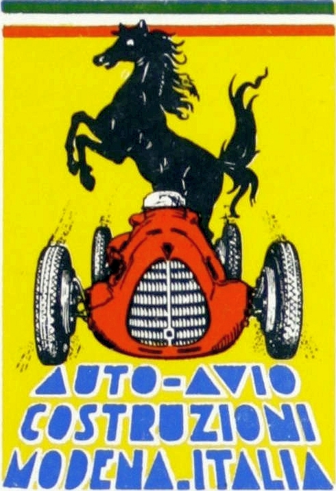 A stallion over a Ferrari on the cover of the first ever catalog for Ferrari