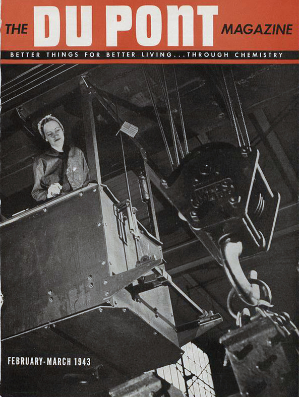 Magazine cover with a black and white photo of a woman operating a crane.