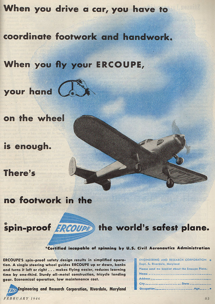 A 1946 ad for an Ercoupe