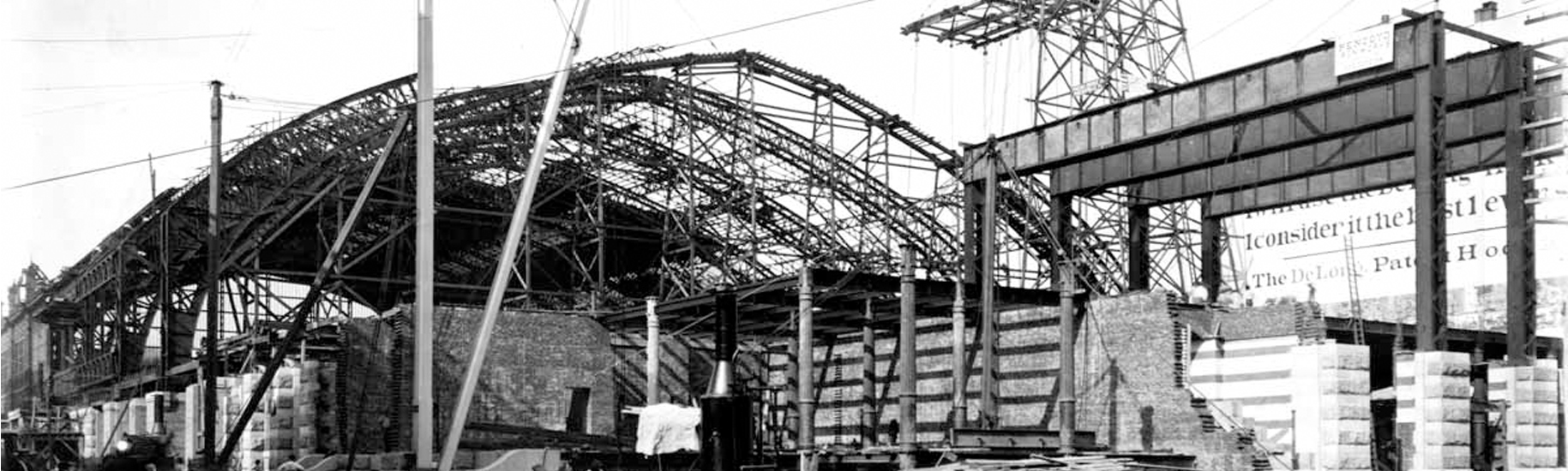 Railroad terminal under construction, only the steel frame is complete