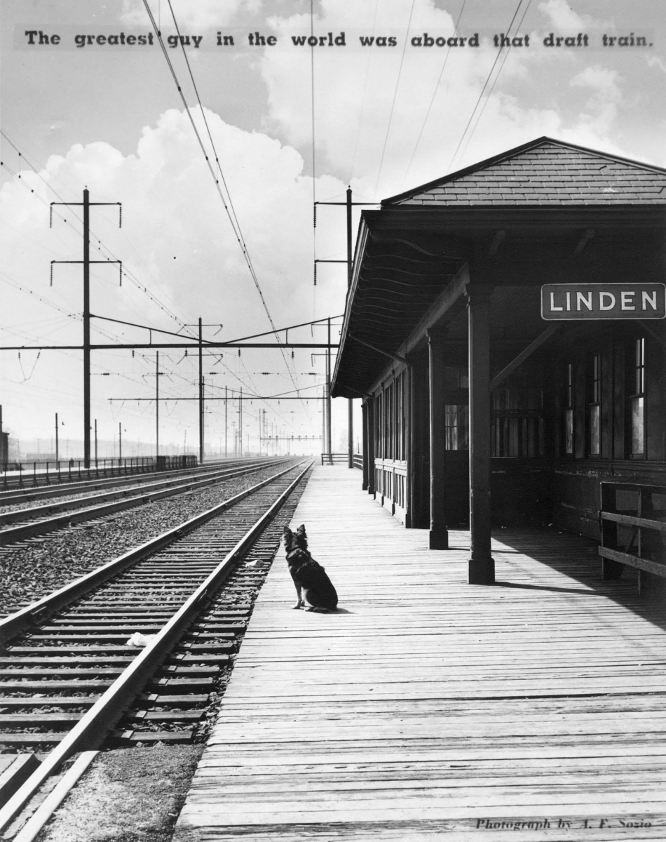 """A dog sits alone on a train platform looking down the empty tracks. The caption reads: """"The greatest guy in the world was aboard that draft train."""""""