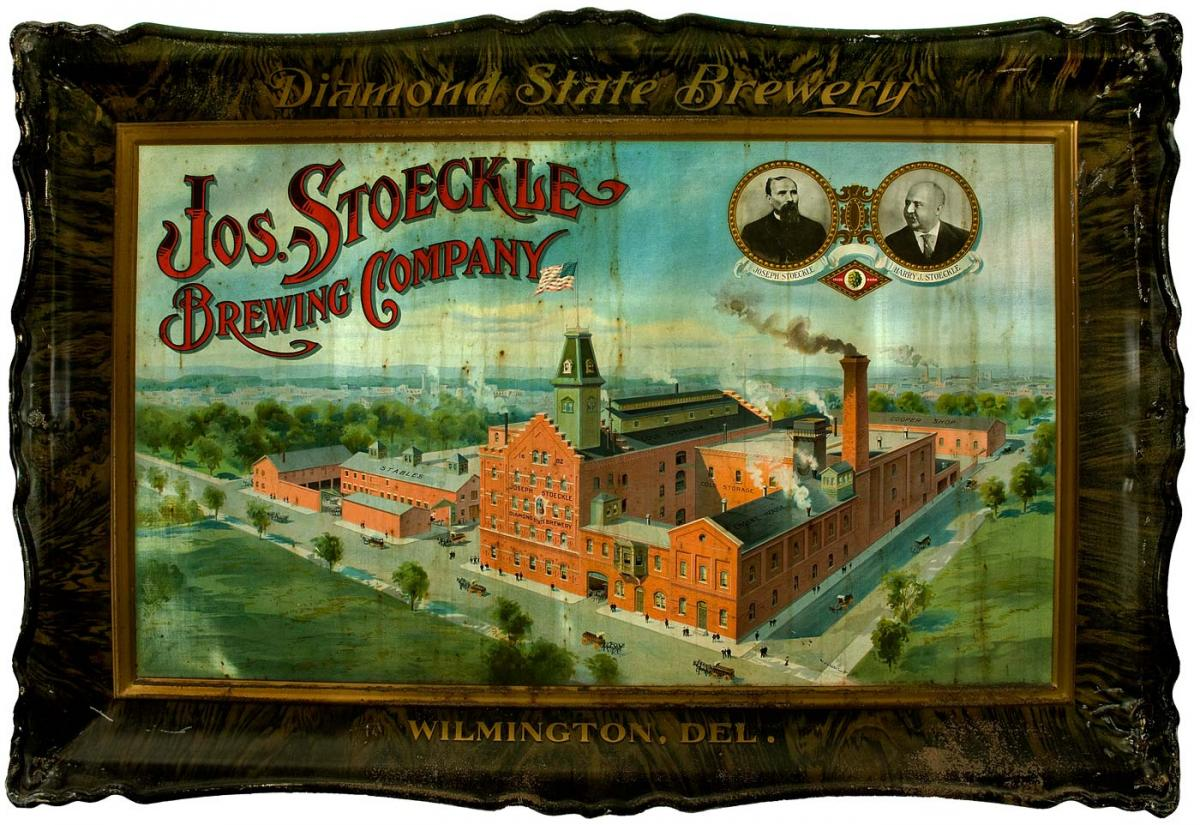 Illustration of the brewery on a tray