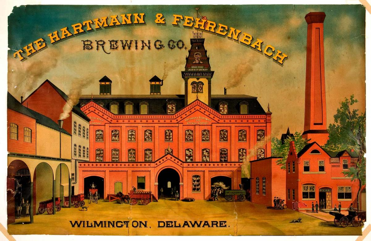 Colored illustration of brewery
