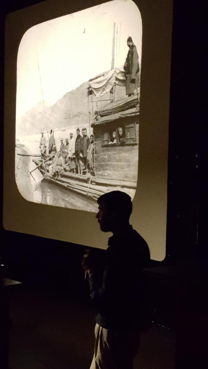Lucas Clawson presenting at the Wagner Institute's Lantern Slide Salon.