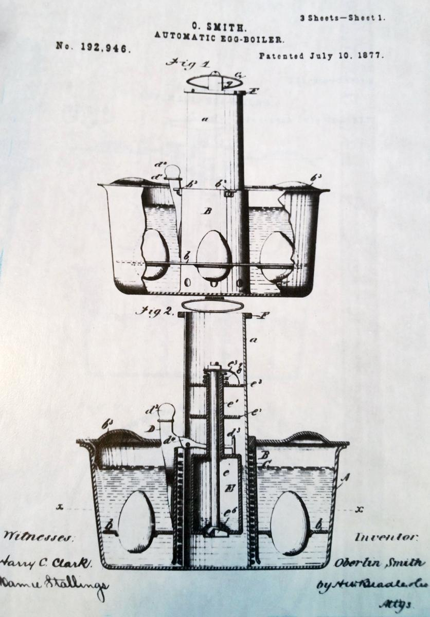 Egg invention diagram from patent application by Oberlin Smith.