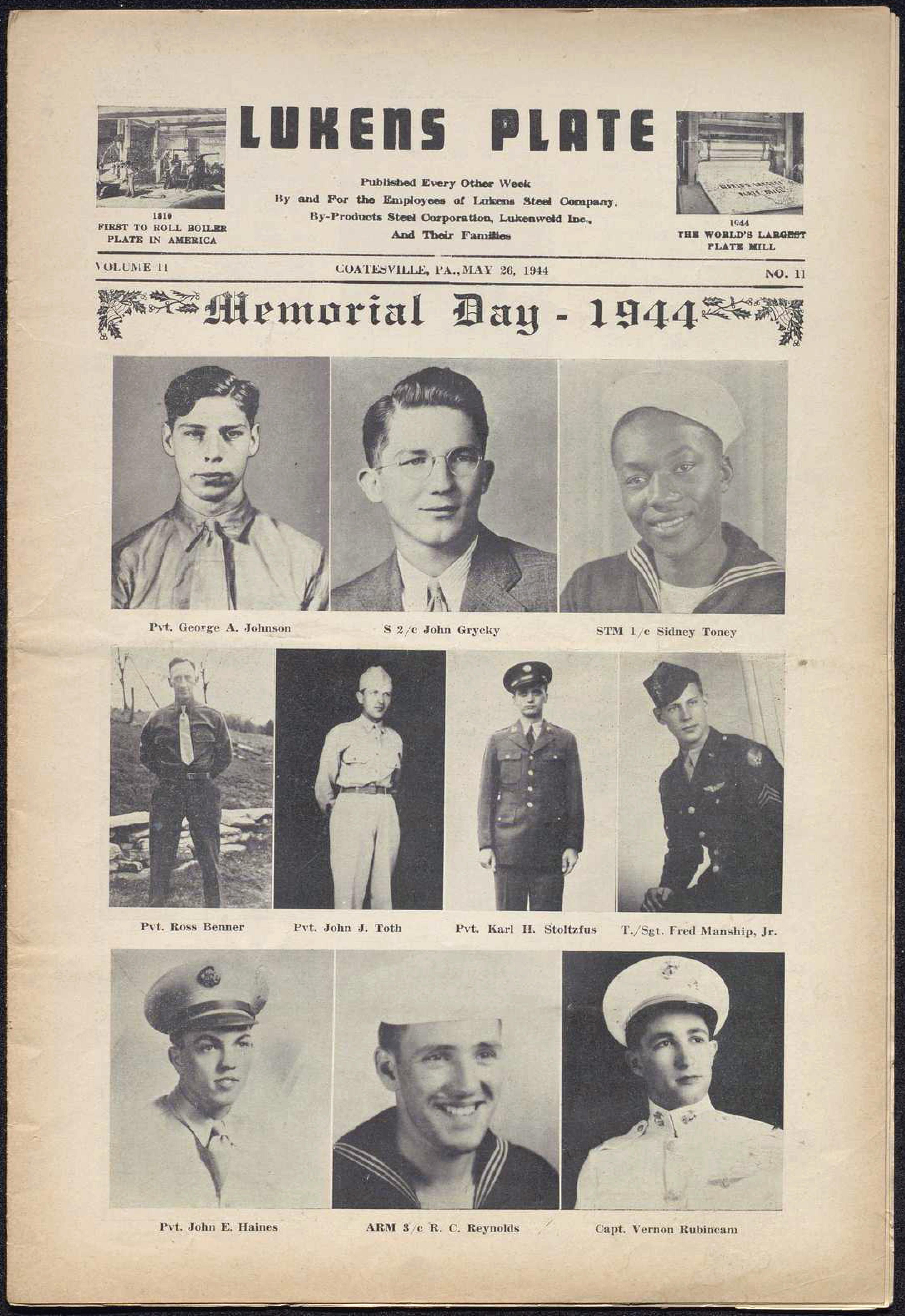 Cover of 'Lukens Plate' newsletter. Memorial Day issue with black and white photographs of employees in the military.