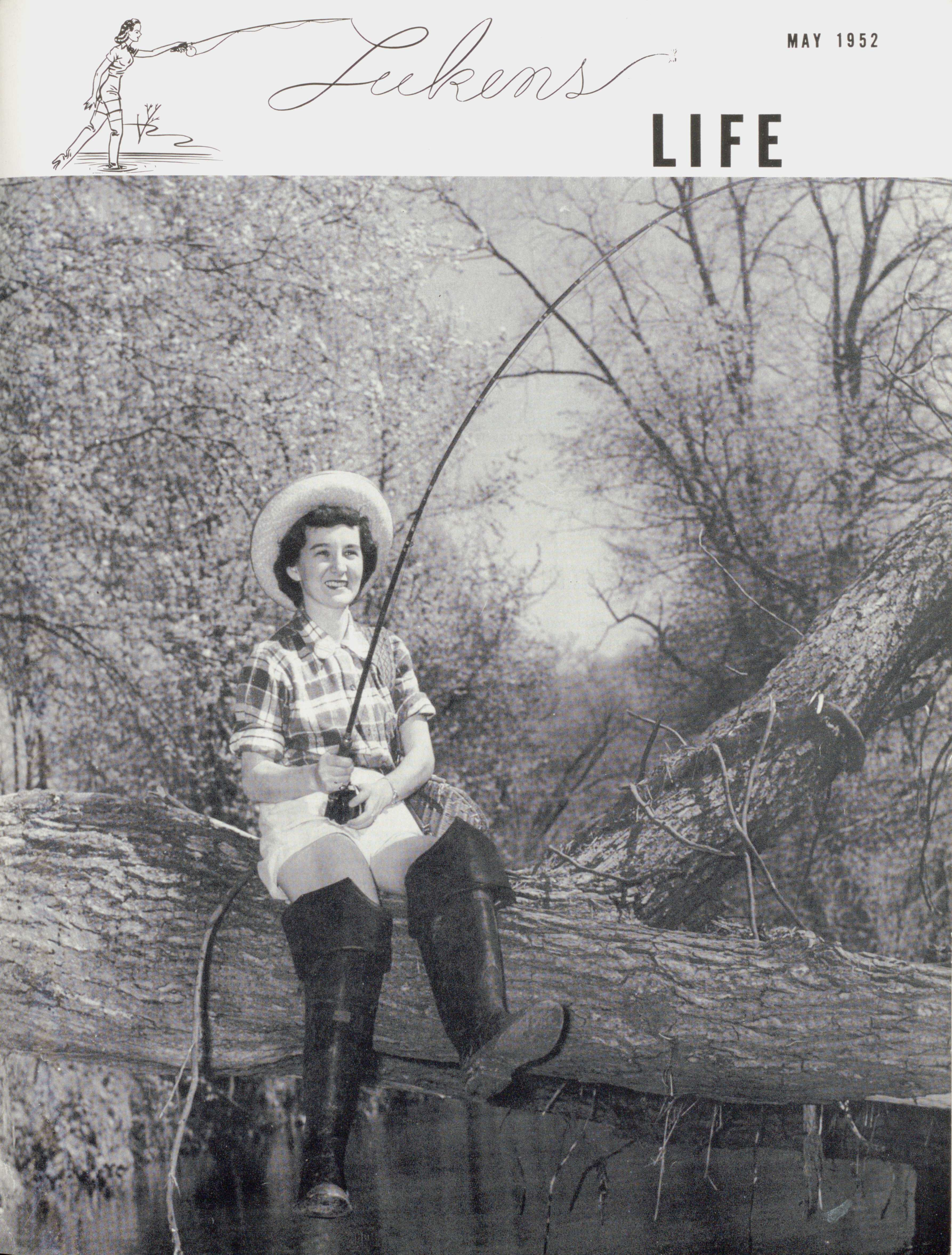 Cover of 'Lukens Life' newsletter, featuring a female employee fishing in a creek