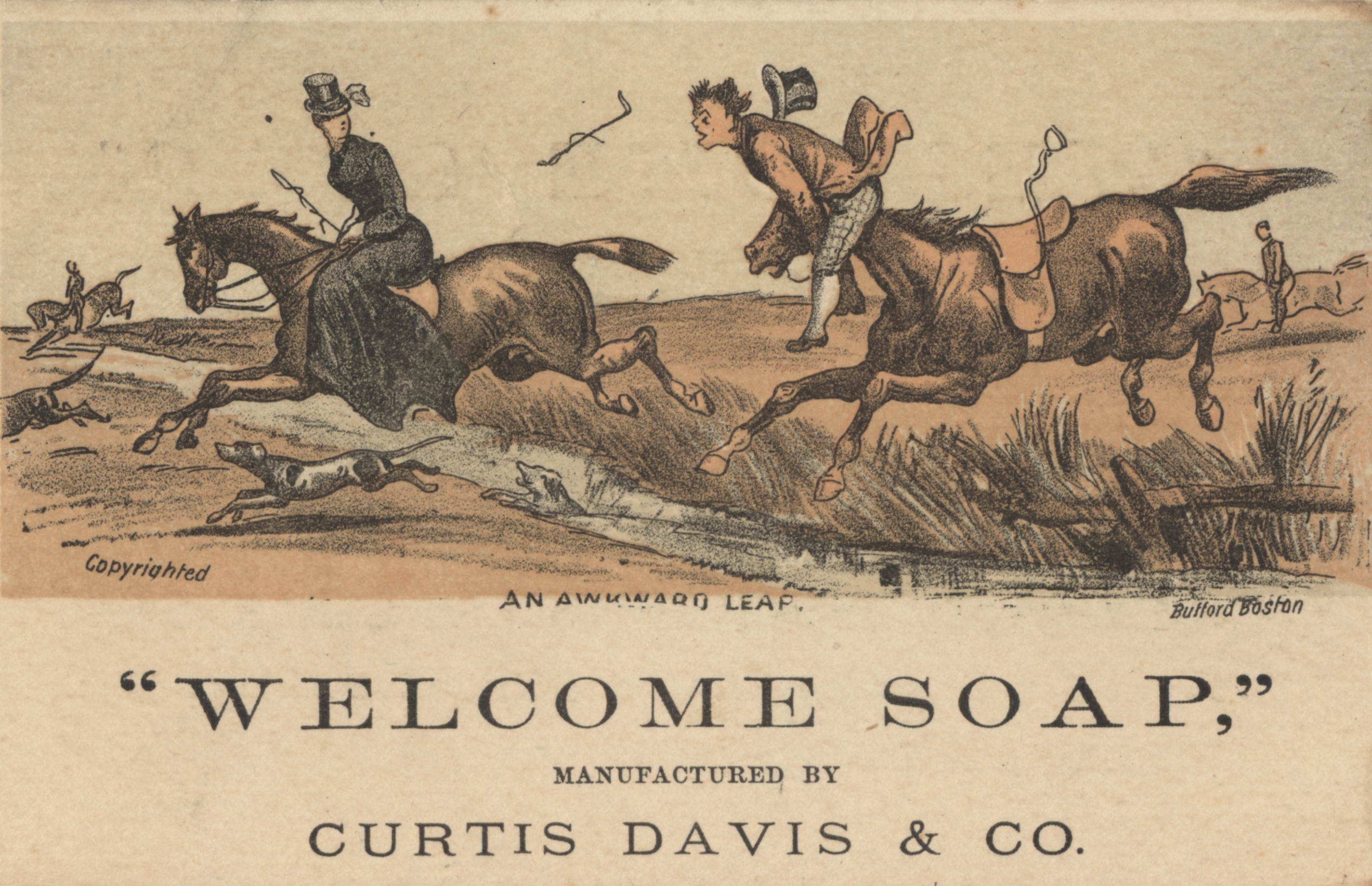 Advertisement for soap. Illustration shows figures on horseback leaping over a small stream.