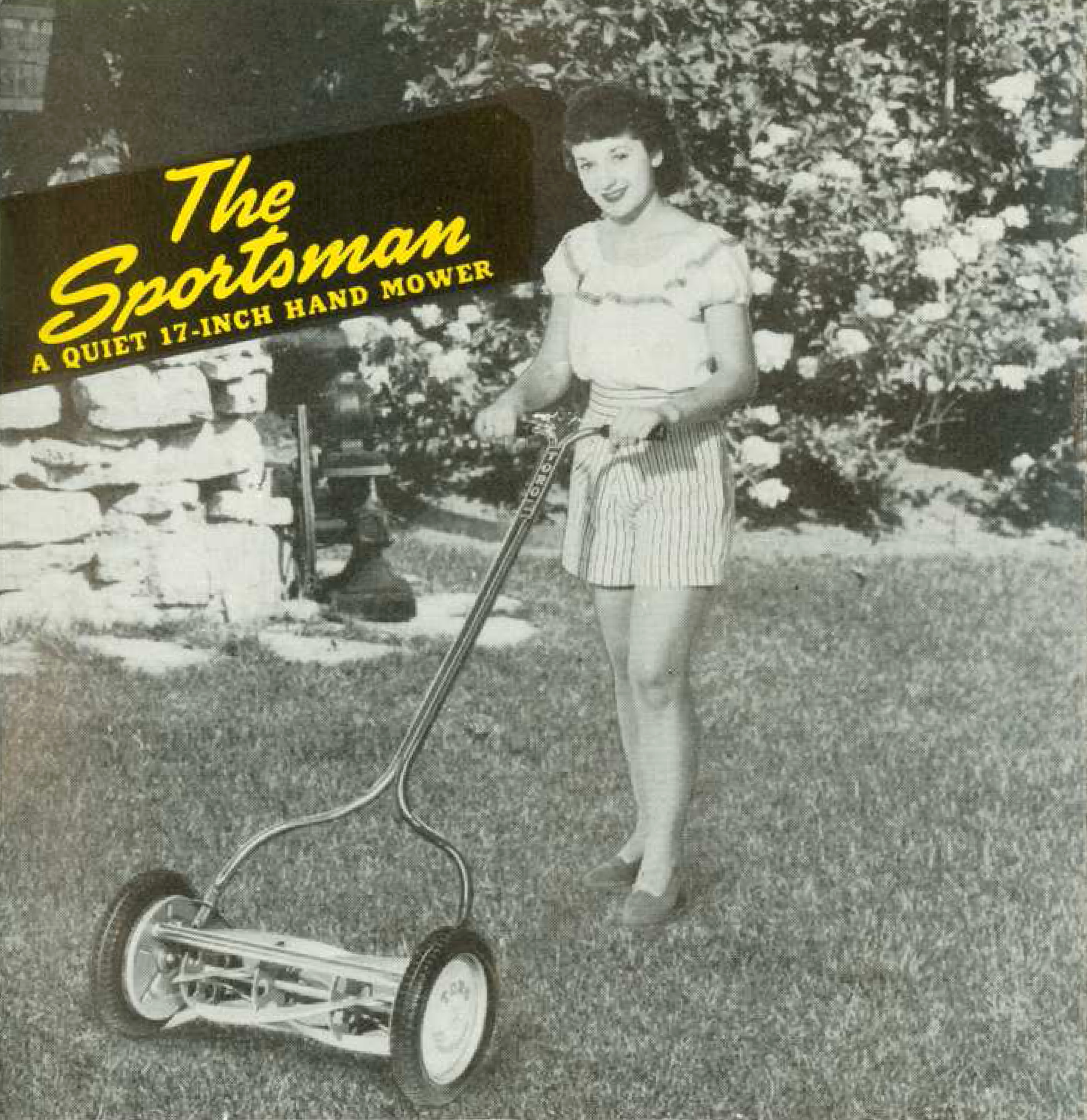 "Black and white photograph of a woman using a hand mower, which text identifies as ""The Sportsman""."