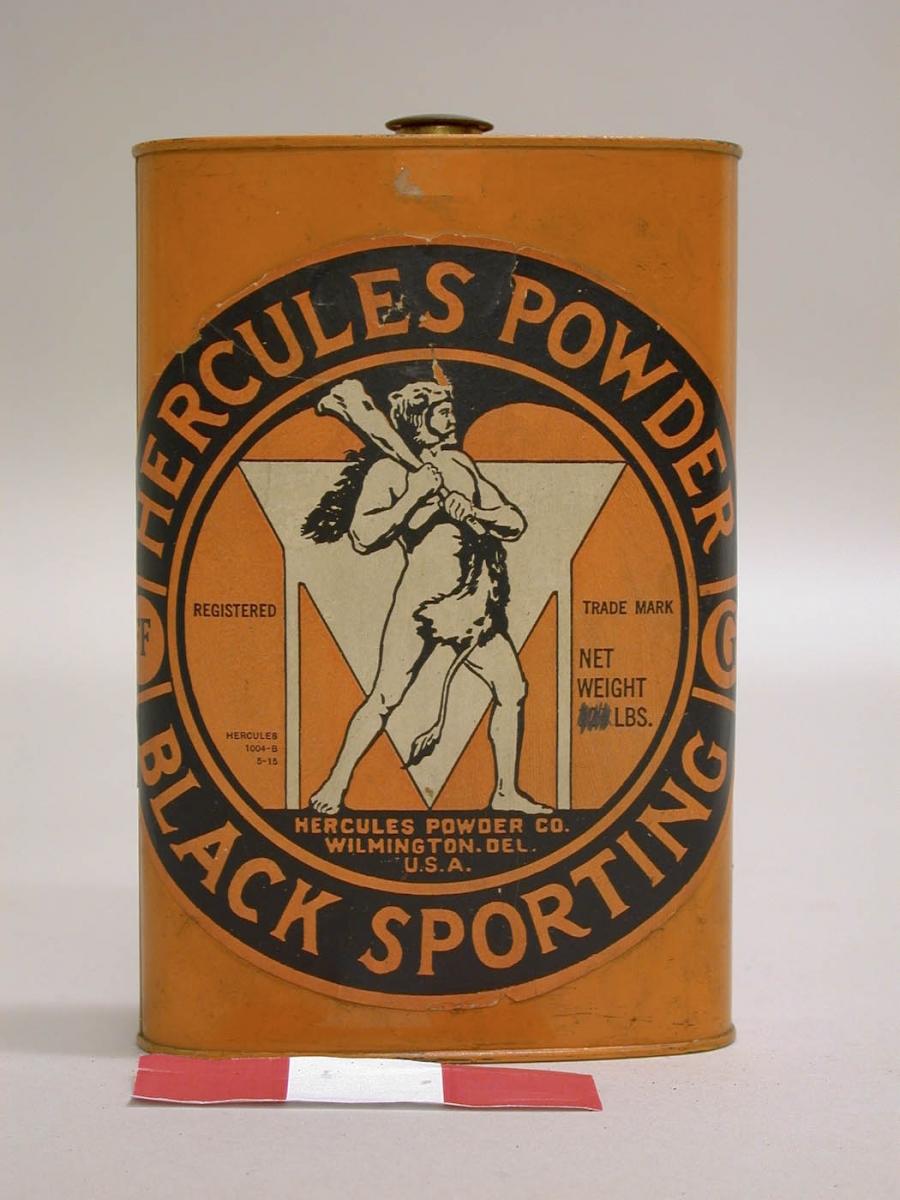 Gunpowder can with Hercules illustration