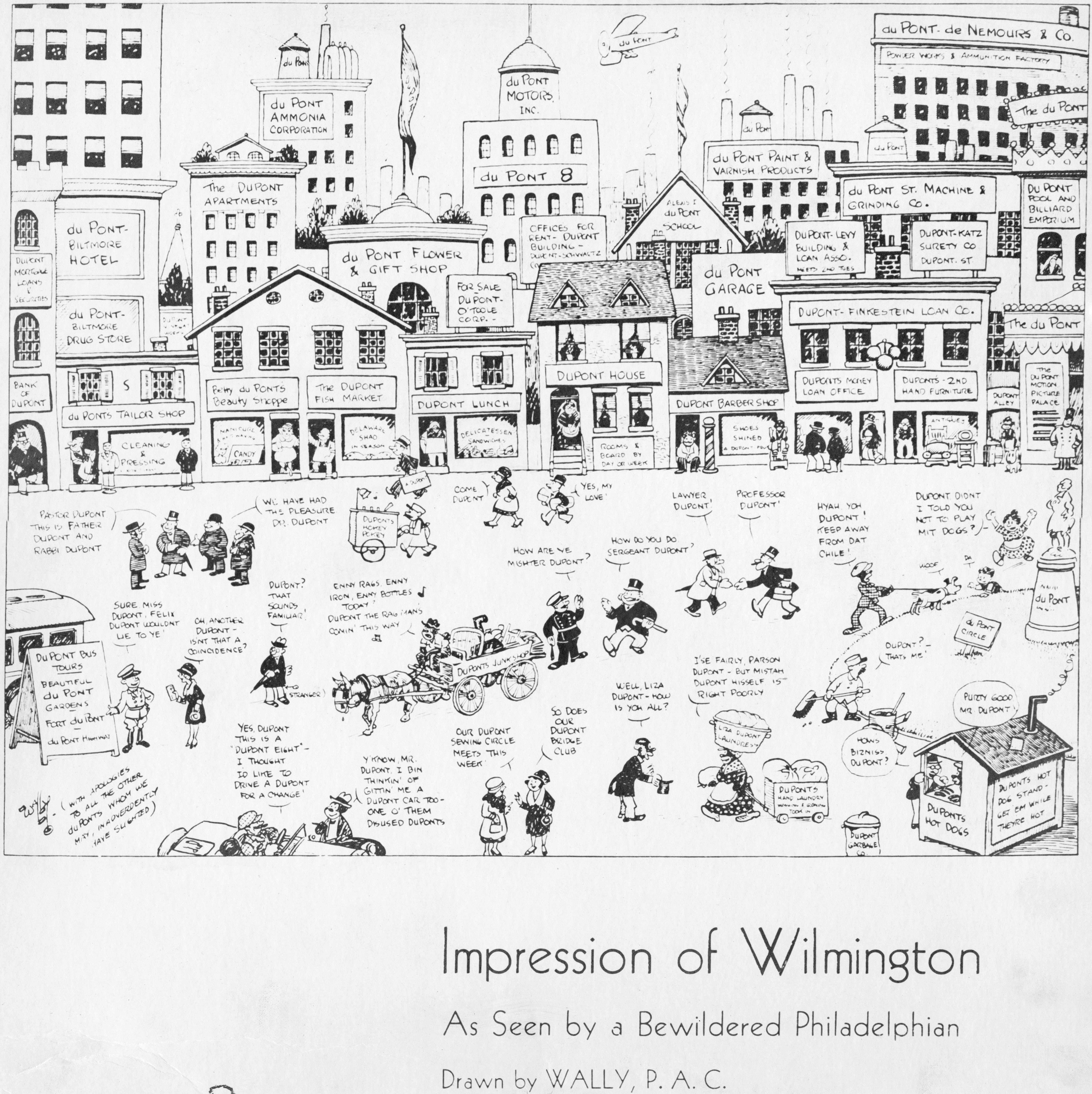 Cartoon depicting a Wilmington street full of people and businesses bearing the DuPont name.