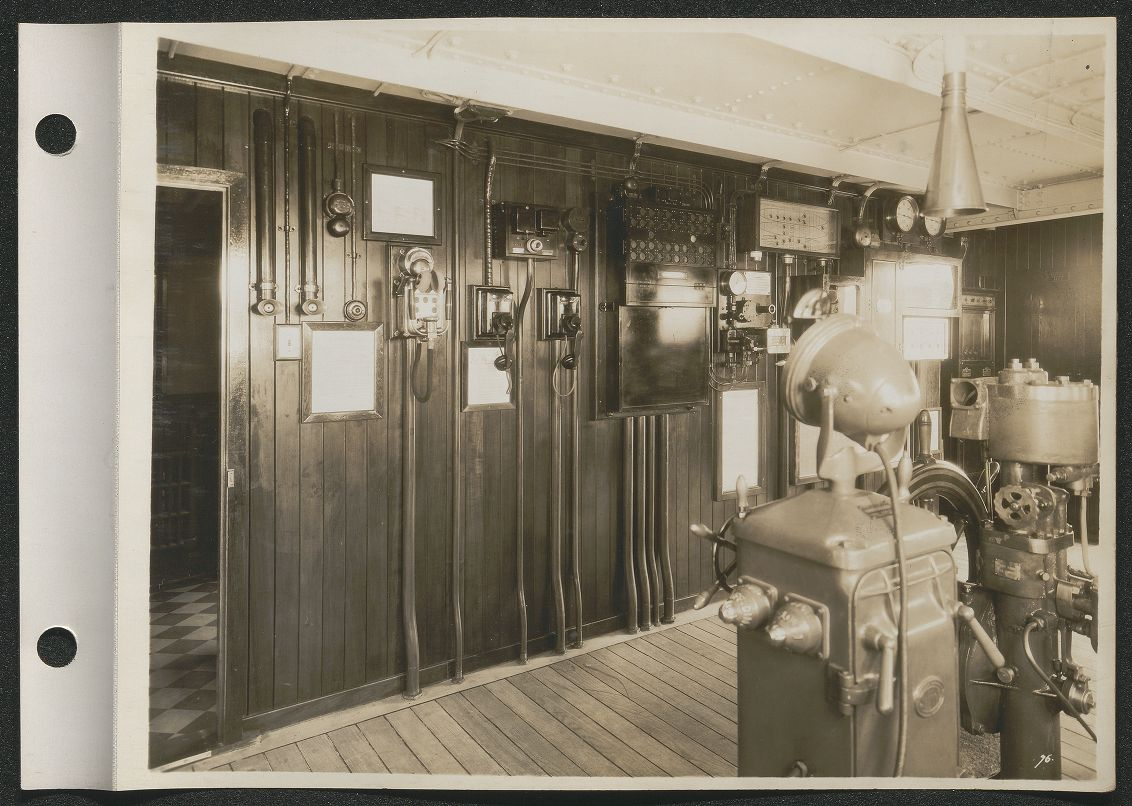 Black and white image of what appears to be a communications room aboard the S.S. Malolo.