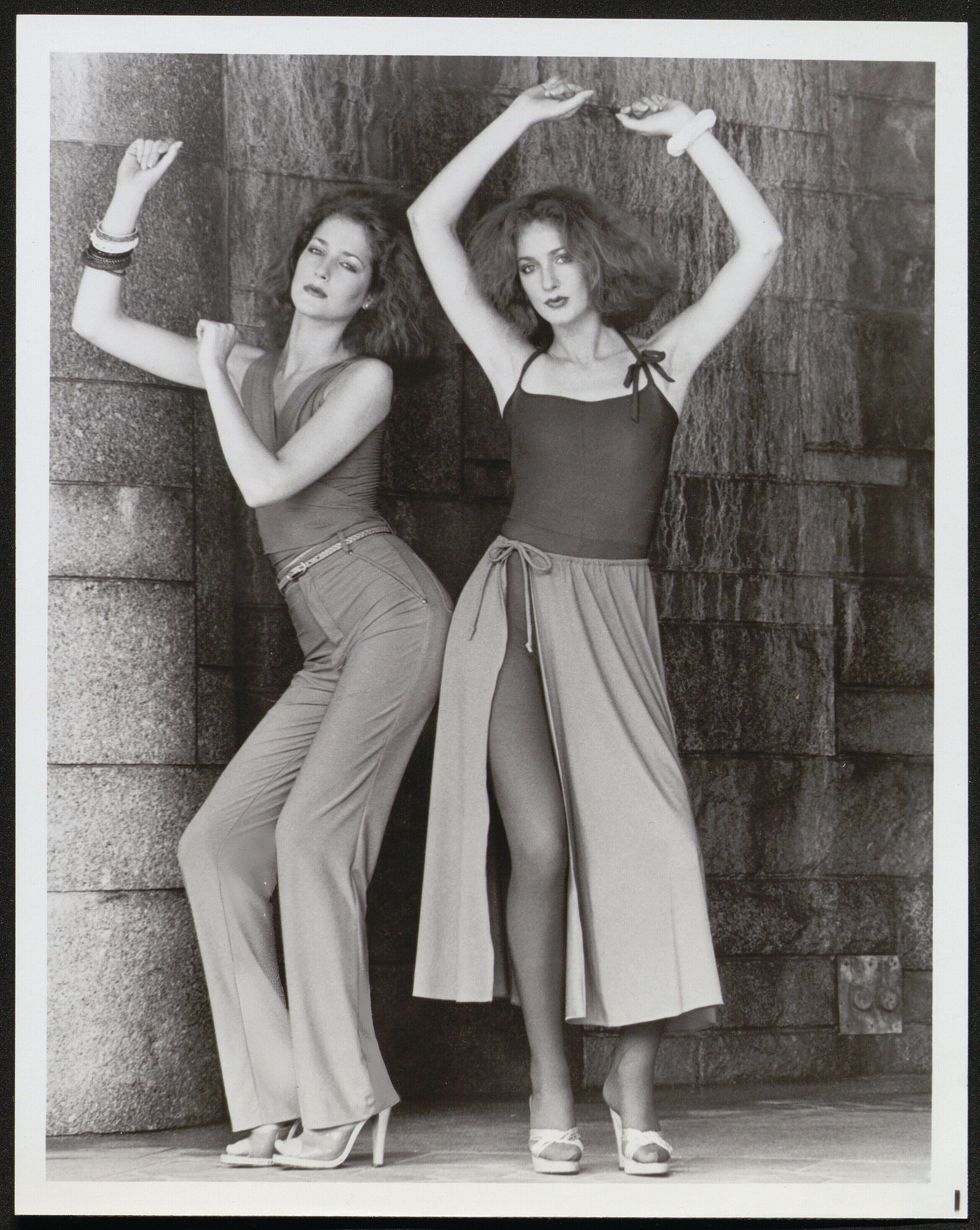 """Black and white photograph of two women modeling """"Disco Bodywear"""""""