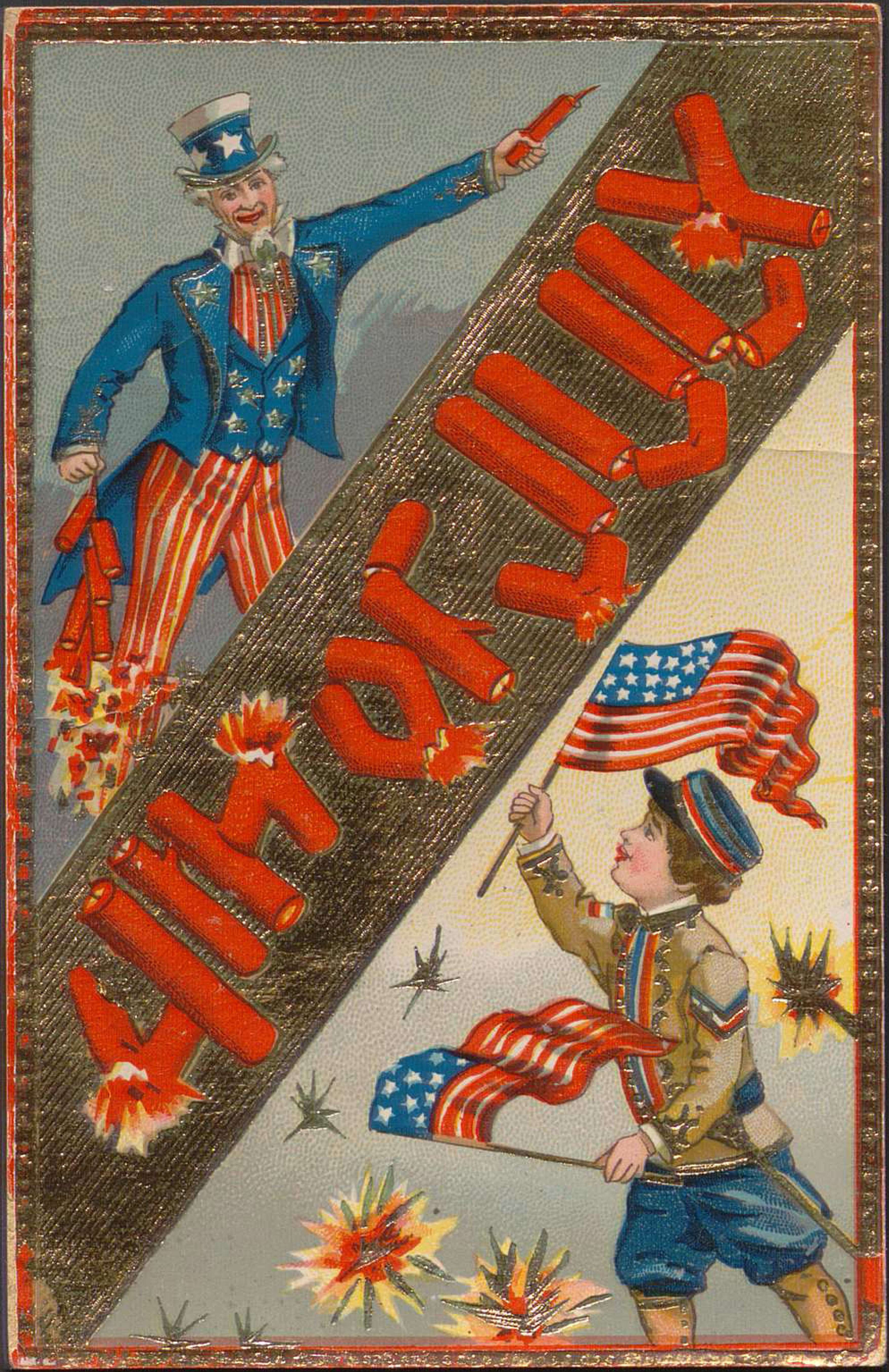 """Postcard with color illustrations of a child in military dress waving American flags and Uncle Sam with fireworks. Firework motifs are spread throughout, including firework sticks spelling out """"4th of July""""."""