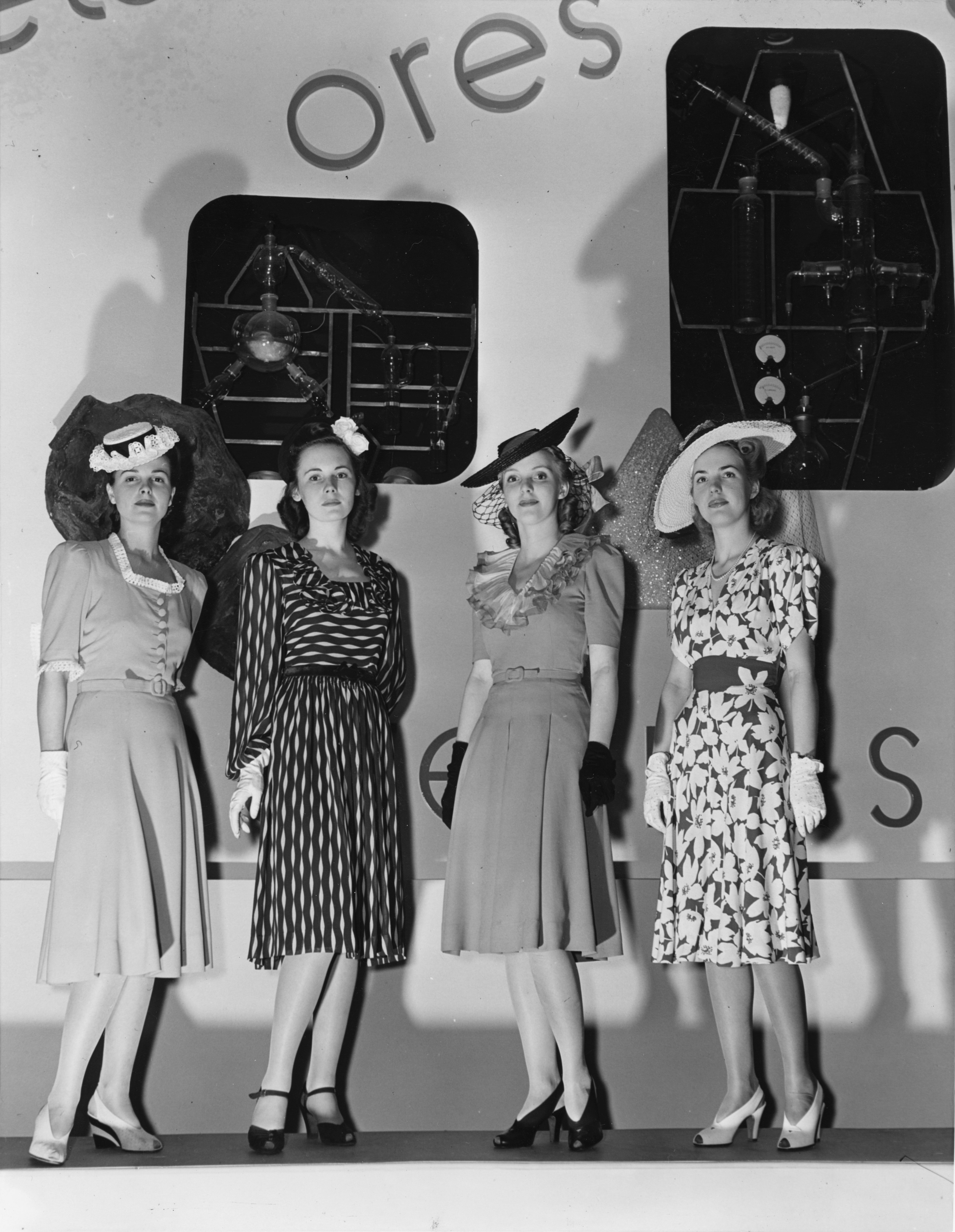 """Black and white image of models for DuPont """"test-tube creations"""" at 1939 New York World's Fair"""