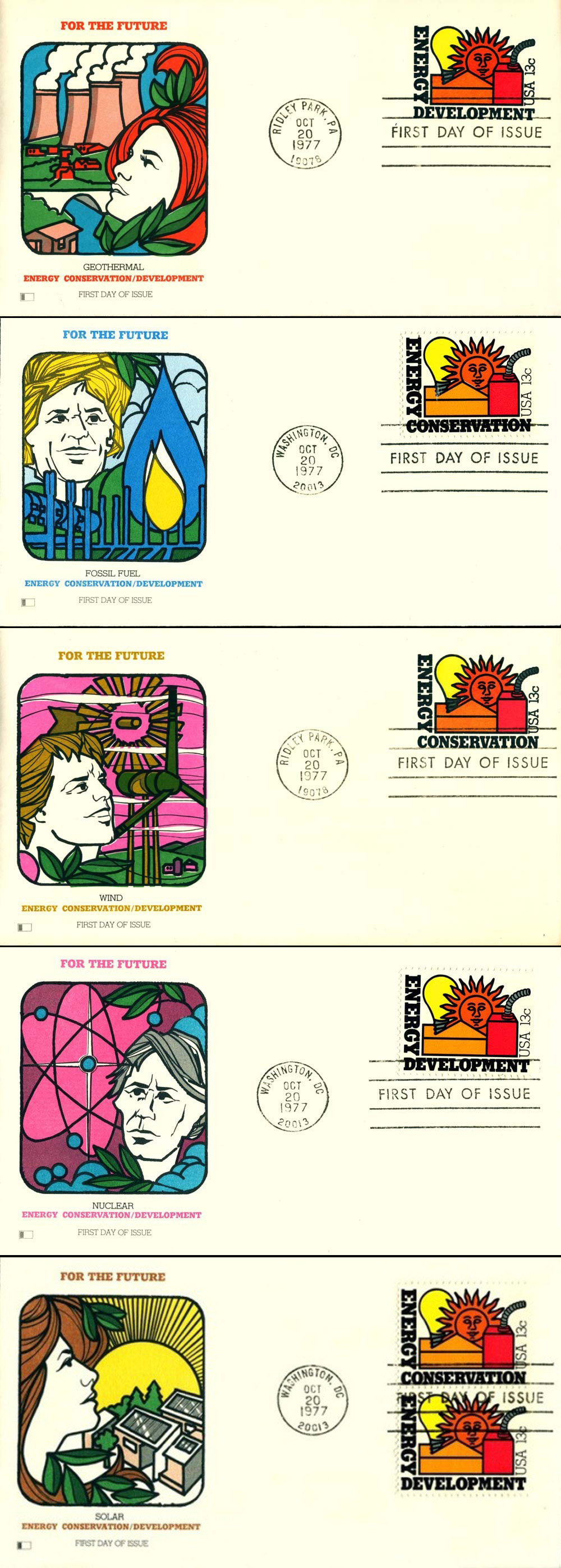 Five illustrated envelopes on the theme of alternative energy sources.