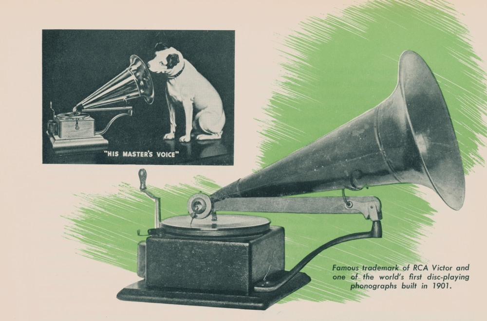 RCA trademark of dog listening to phonograph