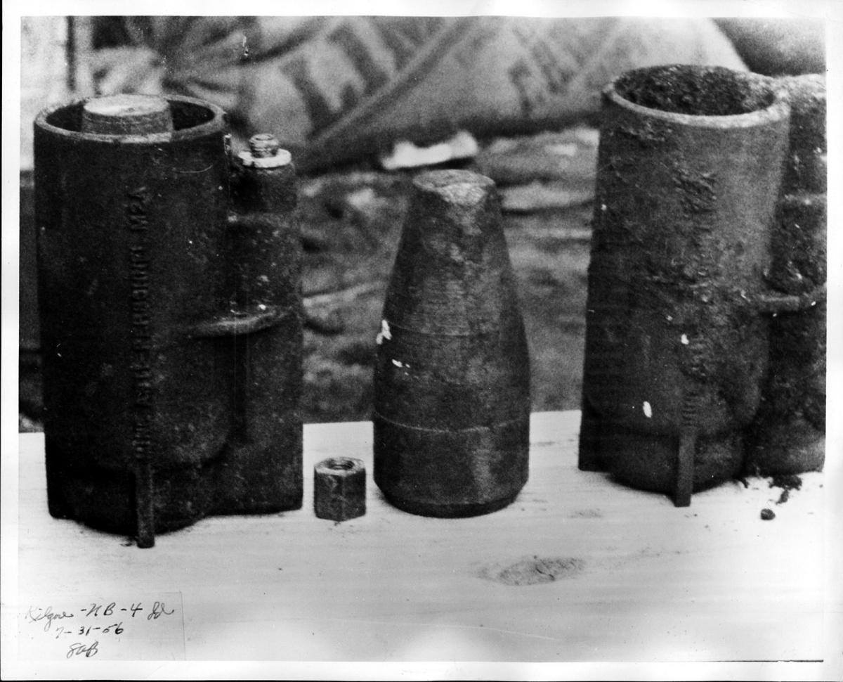 Anti-tank mines recovered at the South Amboy waterfront after the explosion.