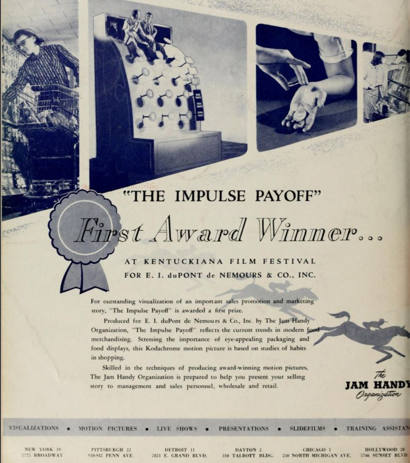 Jim Handy's full page ad announcing the award for the film.