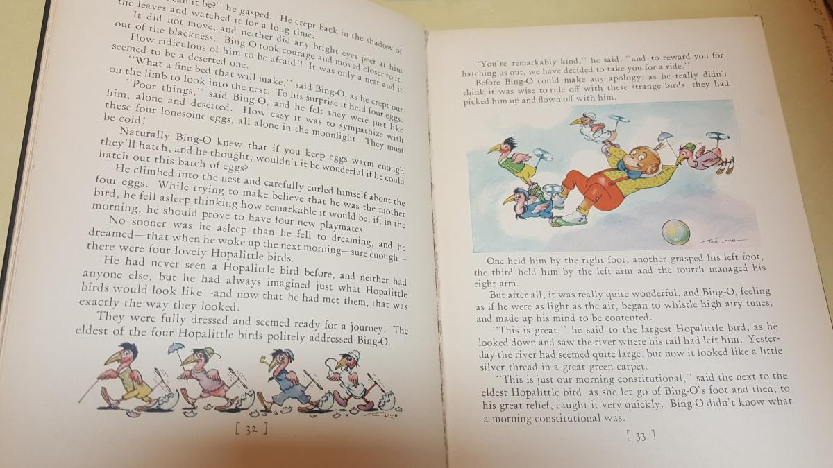 Illustrated pages of the Bing-O book.