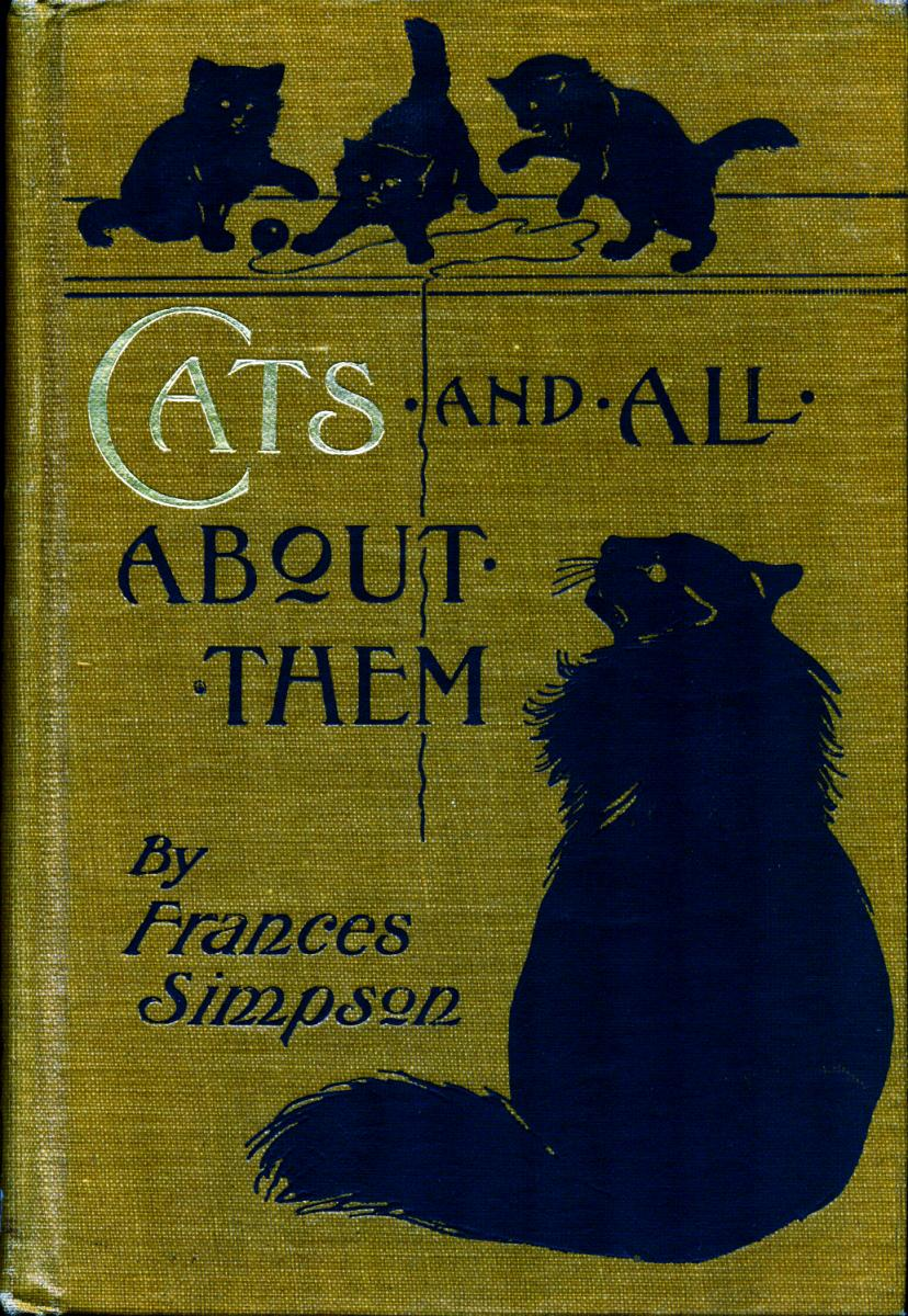 "Textured book cover with several playing cats. Title is ""Cats and All About Them"""