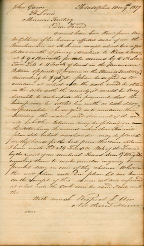 A letter by Wright