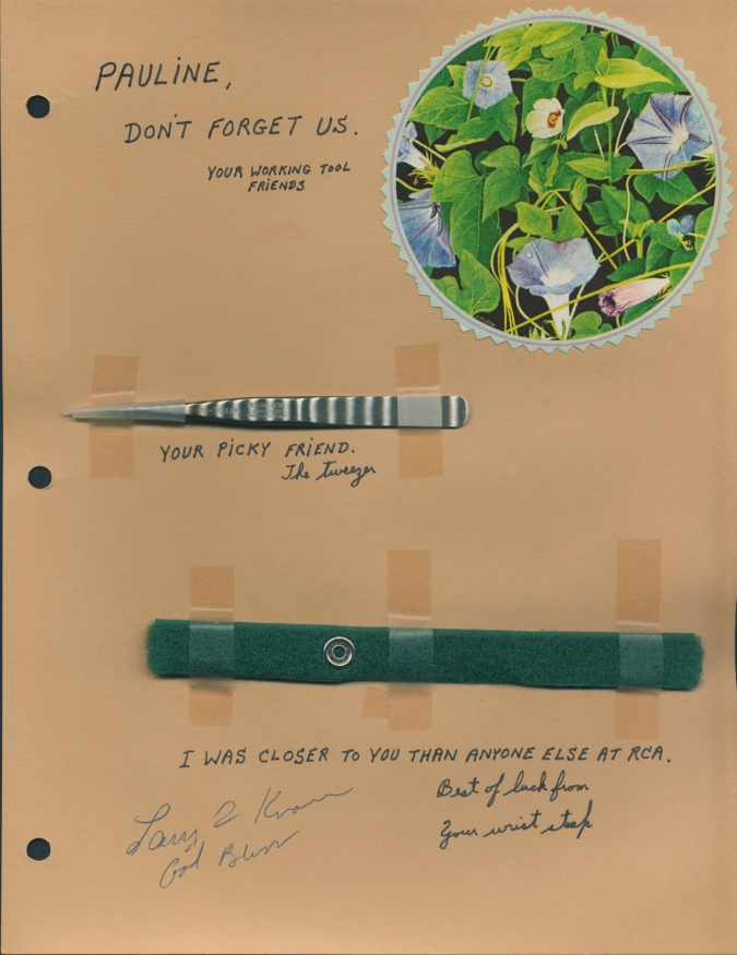 Page in the album with Pauline's tools taped in