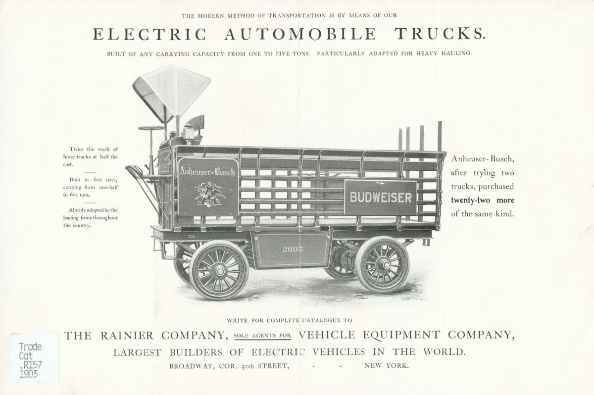 Electric truck ad in a catalog