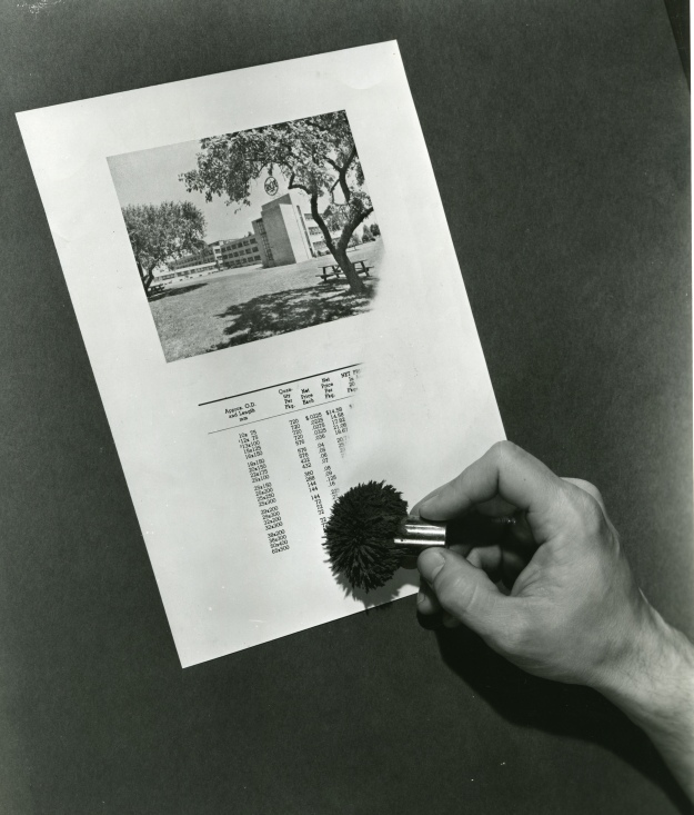 A magnetic brush is applied to a piece of paper