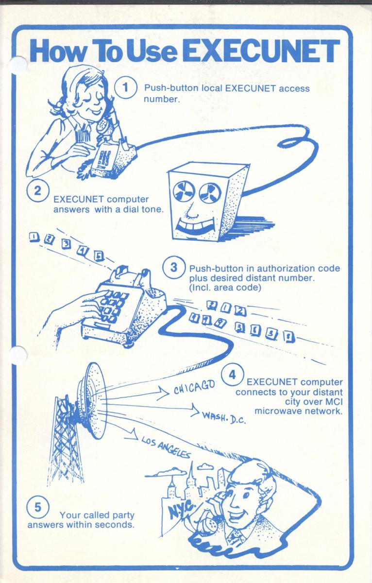 Execunet instructional flyer, 1975