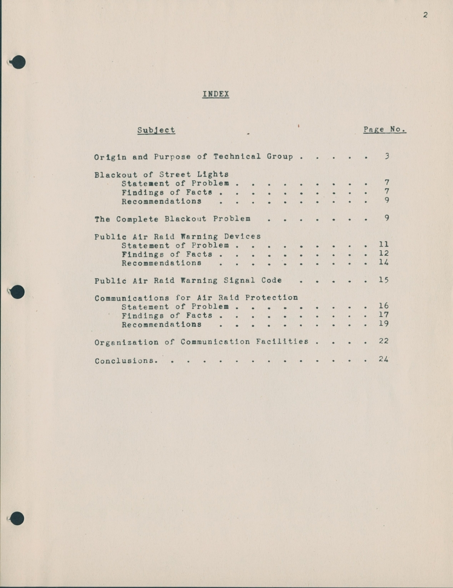 The index page of the confidential report