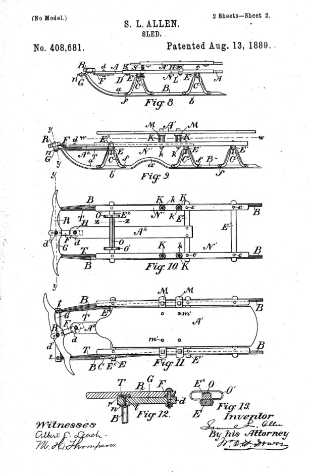Patent drawing for the flexible flyer sled.
