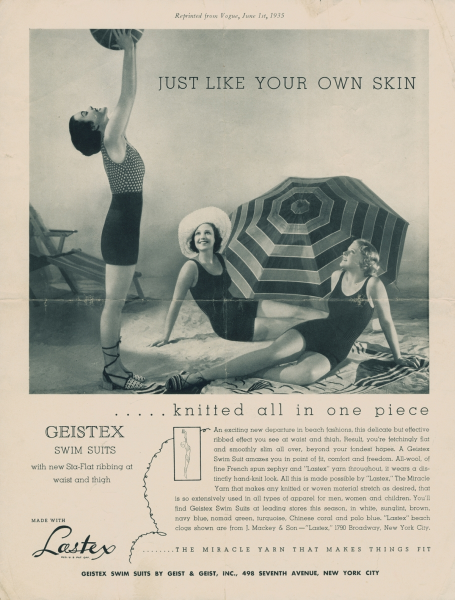 Ad for Geistex swimsuits with three women modeling the one-pieces made with lastex