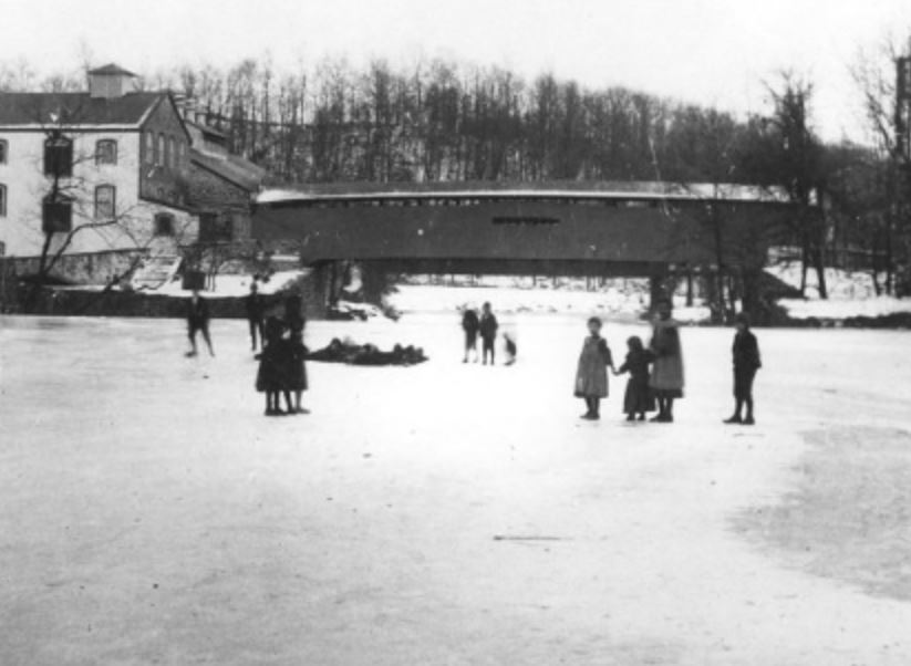 Ice skaters on the Brandywine River near Rockland, circa 1900.