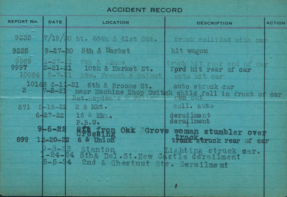 Typewritte accident report record