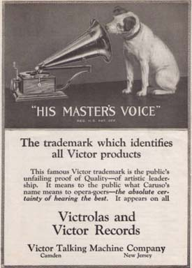 A 1920 ad for the Victor Talking Machine Company from the David Sarnoff Digital Library