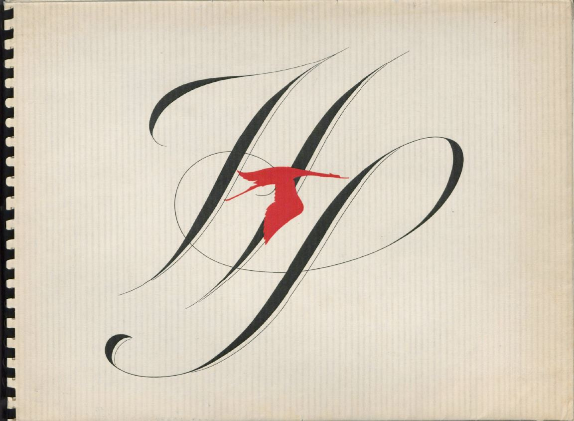 "Cover of the 1934 Huspano-Suiza catalog, the stork logo flies across the scripted letters ""HP"""