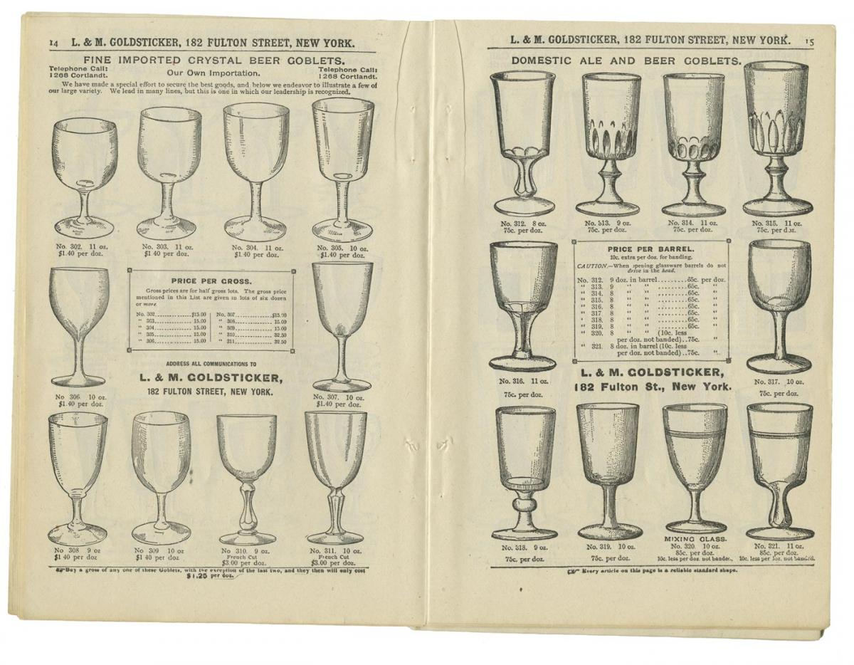 Drinking glasses in a catalog