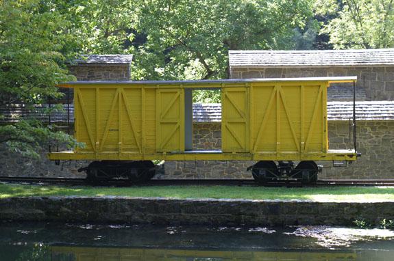 The yellow boxcar at Hagley Powder Yards