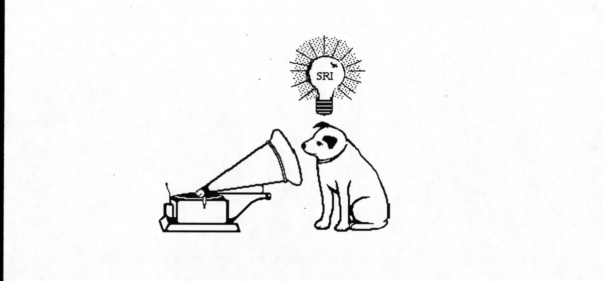 Logo of dog with gramaphone.