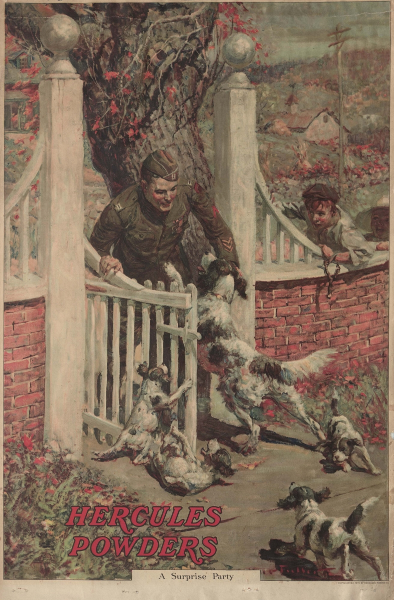 """Hercules Powders ad, from 1920, with a soldier being greeted by his dog and puppies as he comes home. The caption reads: """"A Surprise Party"""""""