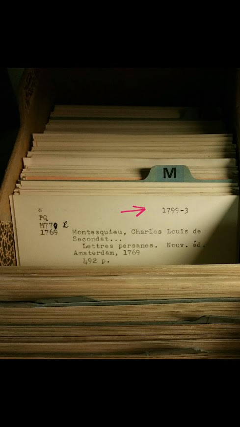 Rink's inventory annotations are recorded on physical catalog cards, as demonstrated here with a title noted in the above image from the packing lists.