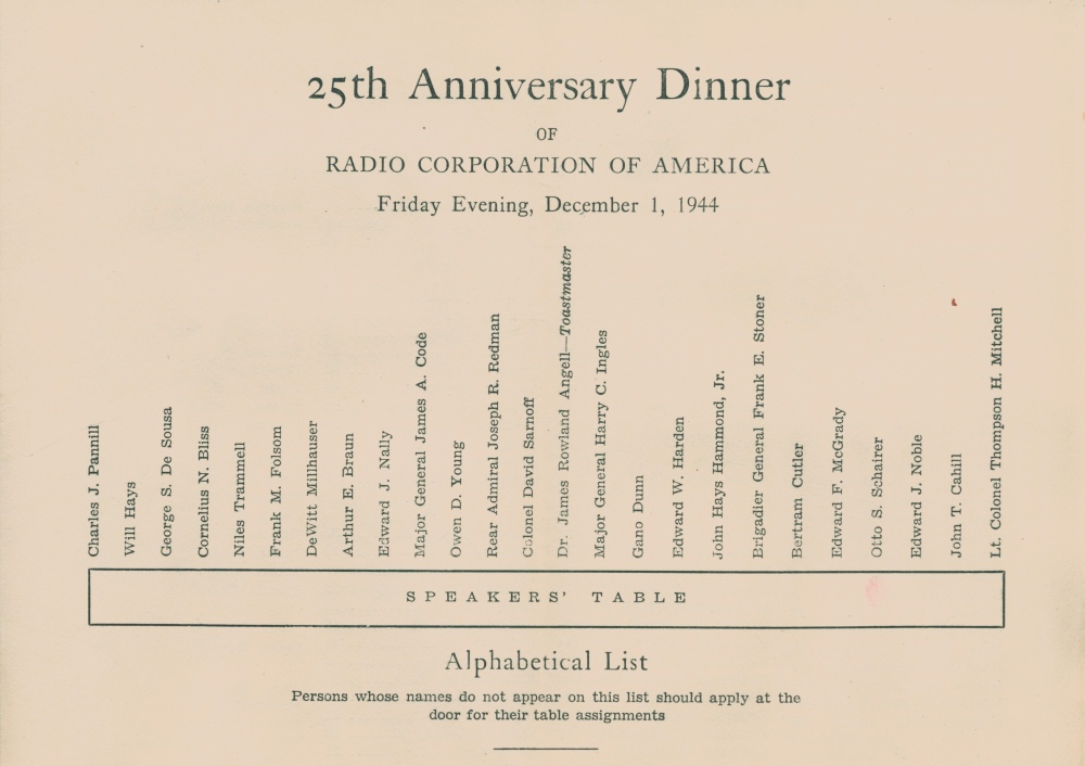Seating chart for RCA anniversary celebration