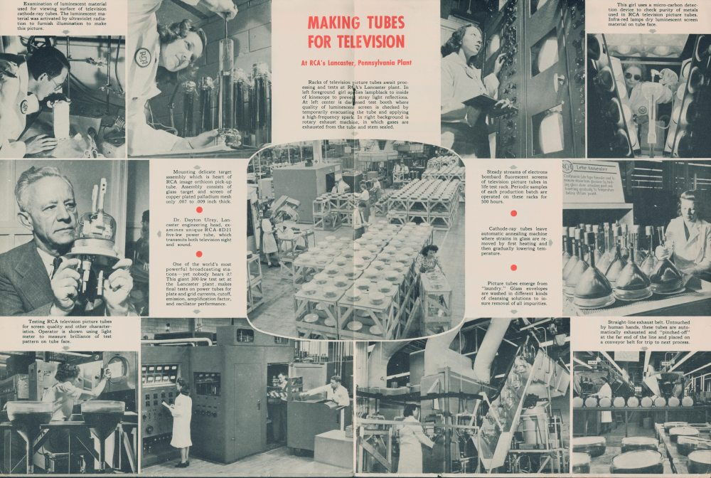 Album page of photographs showing the making of tubes for television