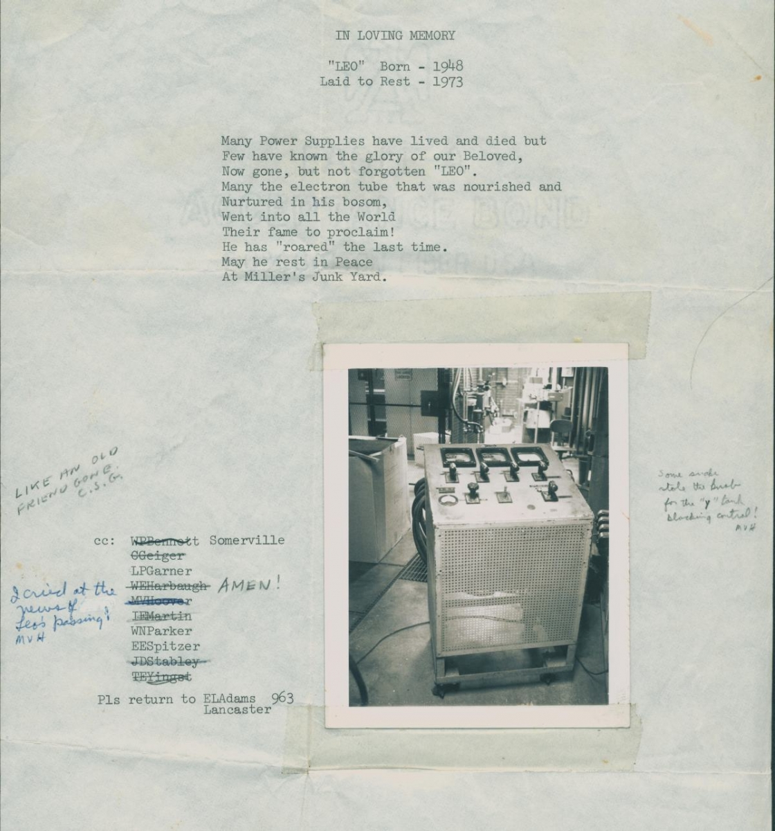 Memorial page of broken equipment with a photograph of the machine