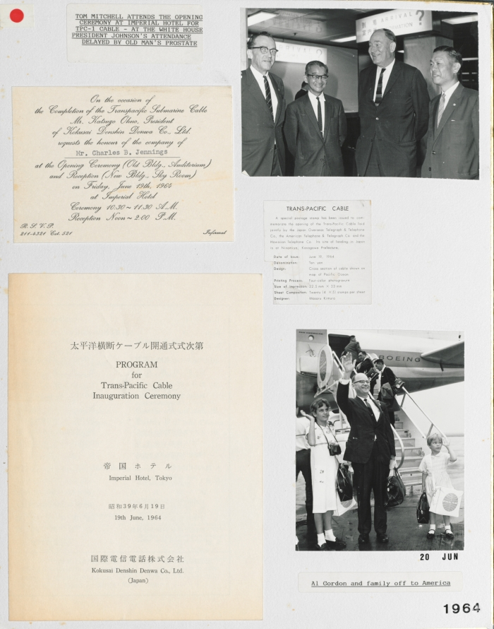 Scrapbook board showing RCA executives visiting Japan and items from the Trans-Pacific Cable Inauguration Ceremony